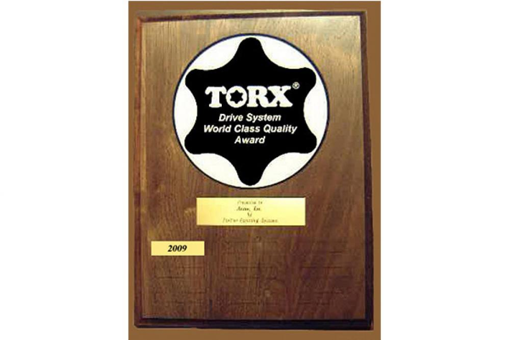 2018 winners of  TORX® Drive System World Class Quality Awards